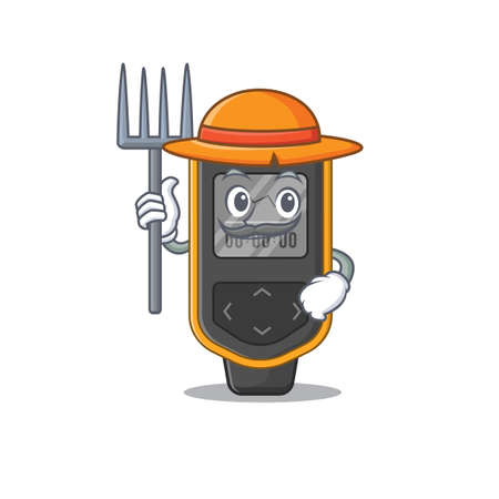Farmer dive computer mascot design working with a hat. Vector illustration