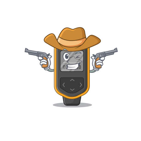 A wise cowboy of dive computer Cartoon design with guns. Vector illustration