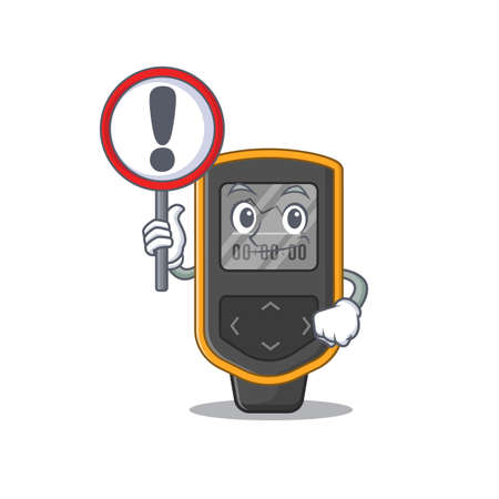 A cartoon icon of dive computer with a exclamation sign board. Vector illustration