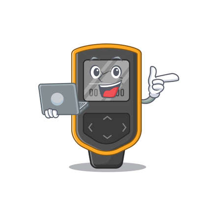 A neat cartoon character of dive computer l working at home during pandemic. Vector illustration