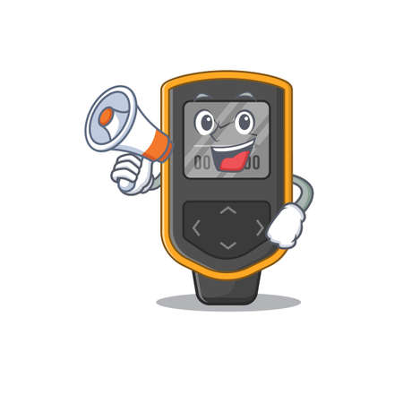 Dive computer carton picture style giving announcement on a megaphone. Vector illustration Illustration