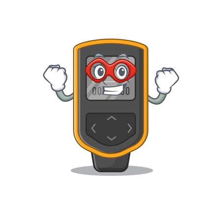 A cartoon mascot of dive computer in a fantastic Super hero character. Vector illustration