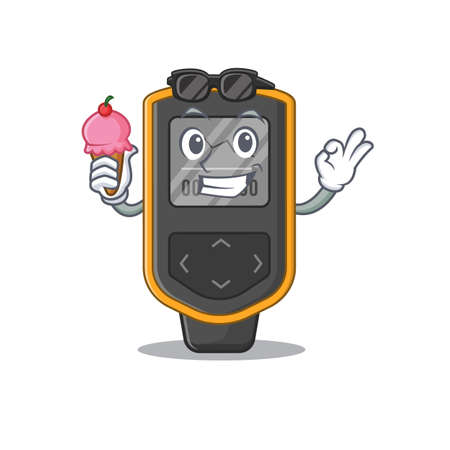 A Caricature design concept of dive computer with cone ice cream. Vector illustration Illustration