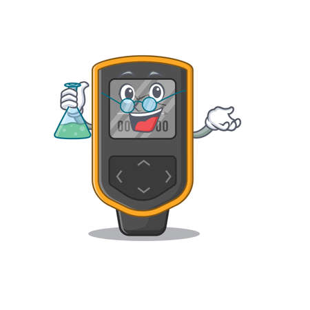 Super Genius Professor of dive computer Caricature character working on a lab. Vector illustration Illustration