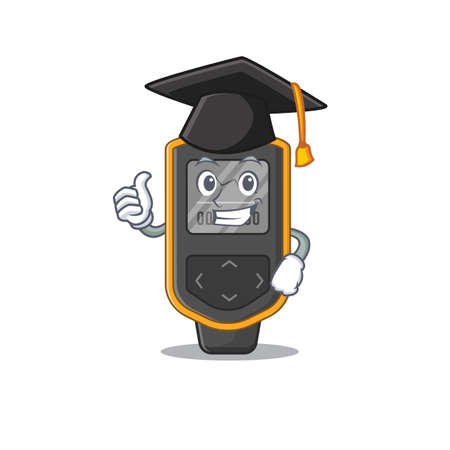 Dive computer caricature picture design with hat for graduation ceremony. Vector illustration 向量圖像