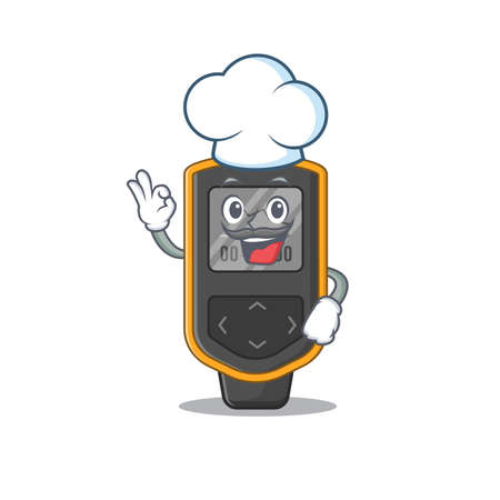 Dive computer chef cartoon drawing style wearing iconic chef hat. Vector illustration