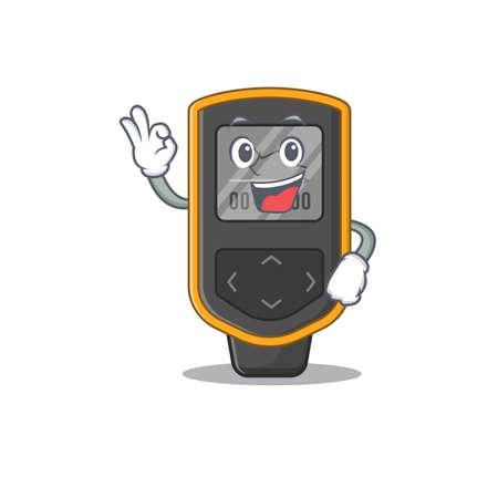 Dive computer cartoon mascot design with Okay finger poses. Vector illustration Illustration