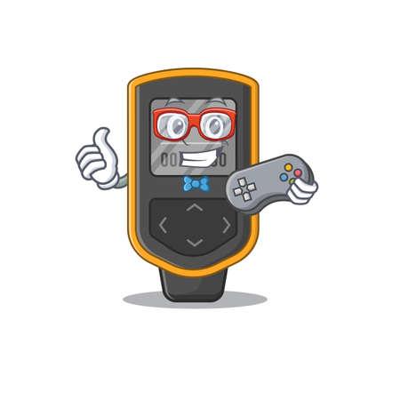 Cartoon Mascot design of dive computer gamer using controller. Vector illustration Illusztráció