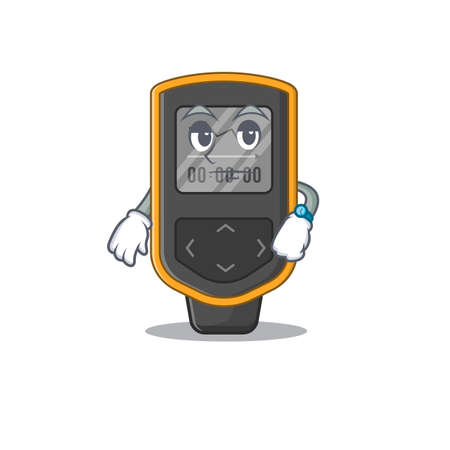 Mascot design style of dive computer with waiting gesture. Vector illustration Vettoriali