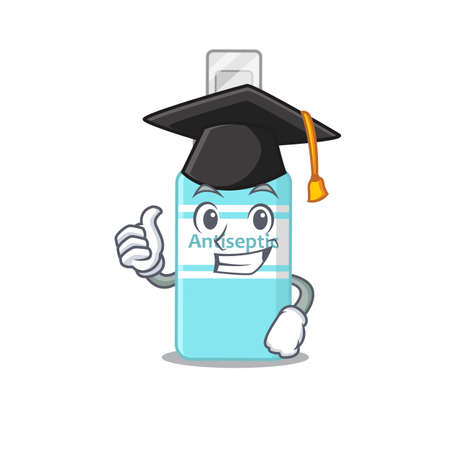 Antiseptic caricature picture design with hat for graduation ceremony. Vector illustration