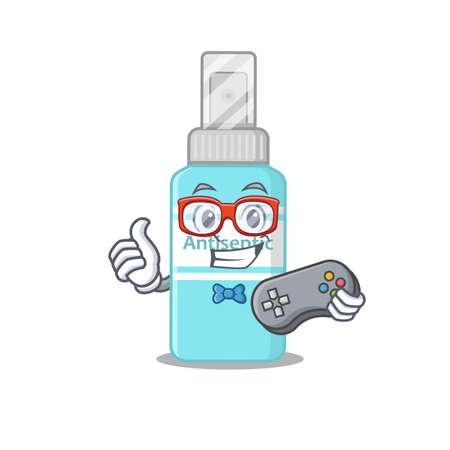 Cartoon Mascot design of antiseptic gamer using controller