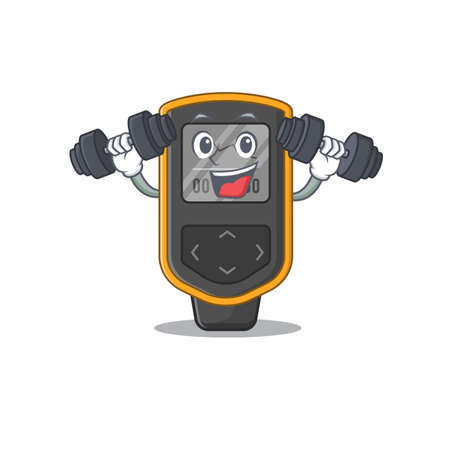 Muscular dive computer mascot design with barbells during exercise. Vector illustration Illustration