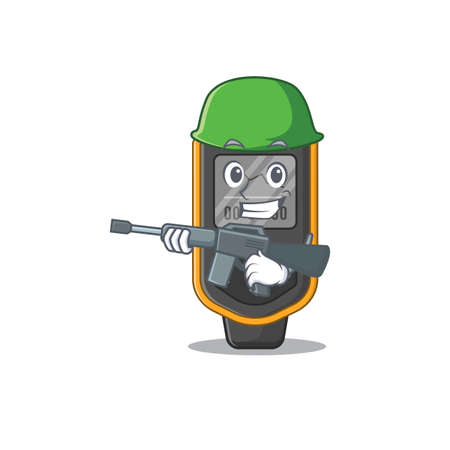 A charming army dive computer cartoon picture style having a machine gun. Vector illustration