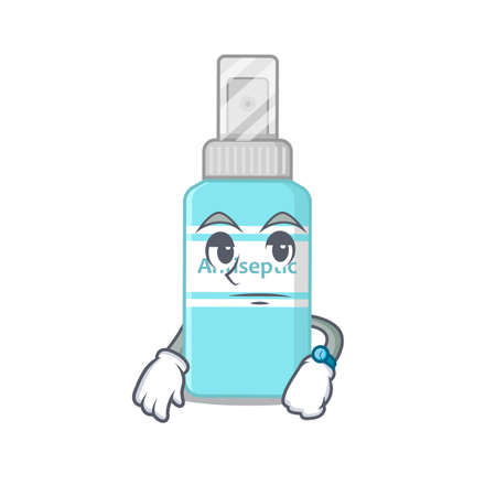 Mascot design style of antiseptic with waiting gesture Vettoriali