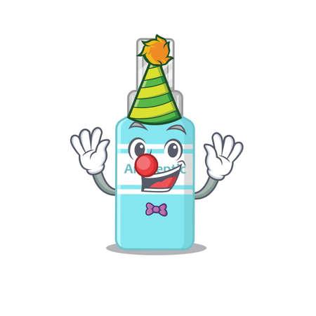 Friendly clown with antiseptic mascot design concept. Vector illustration Vettoriali