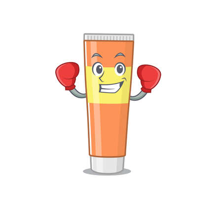 Toothpaste Caricature character design as a champion of boxing competition. Vector illustration Illusztráció