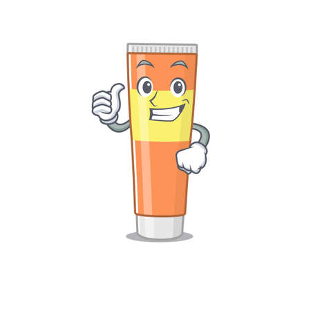 Toothpaste cartoon picture design showing OK finger pose. Vector illustration Çizim