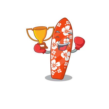 Fabulous boxing winner of surfboard caricature design style. Vector illustration