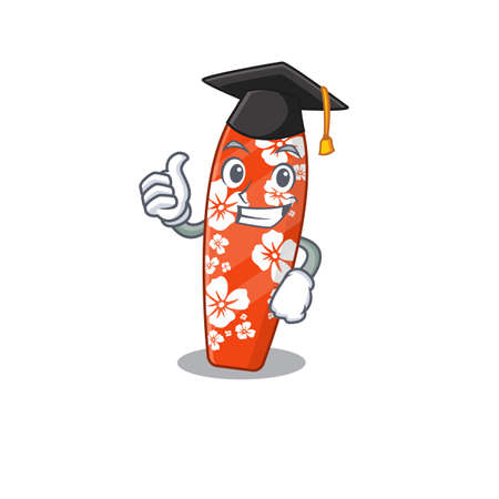 Surfboard caricature picture design with hat for graduation ceremony. Vector illustration