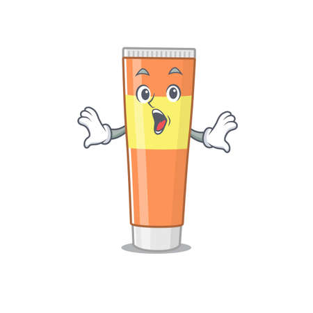 Toothpaste mascot design concept showing a amazed gesture. Vector illustration