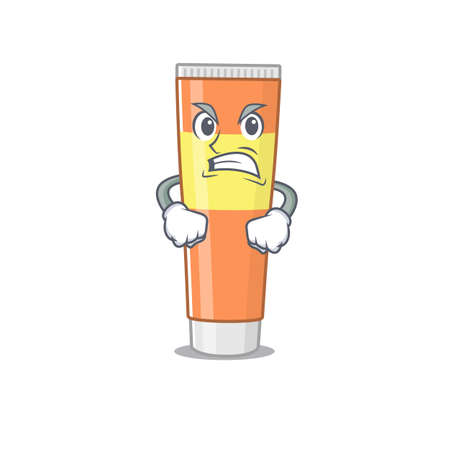A cartoon picture style of toothpaste having a mad face. Vector illustration