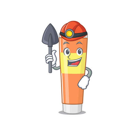 Toothpaste cartoon image design as a miner with tool and helmet. Vector illustration Hình minh hoạ