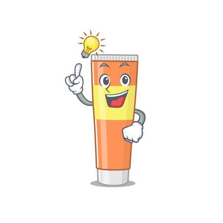 genius toothpaste Mascot character has an idea gesture. Vector illustration