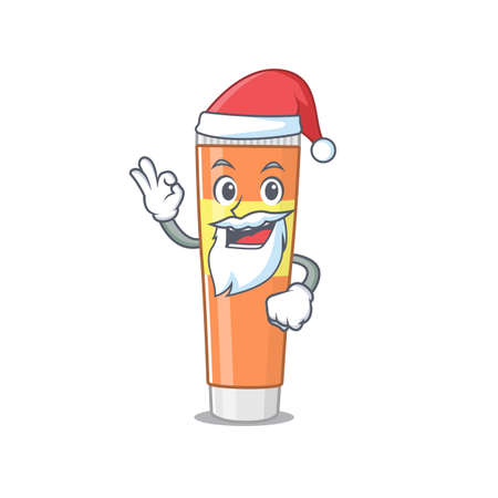 cartoon character of toothpaste Santa with cute ok finger. Vector illustration Hình minh hoạ