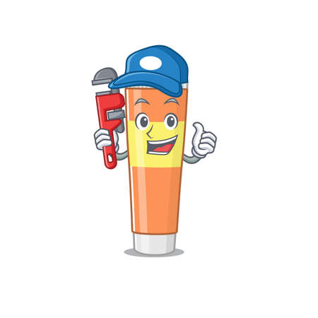 cartoon mascot design of toothpaste as a Plumber with tool. Vector illustration