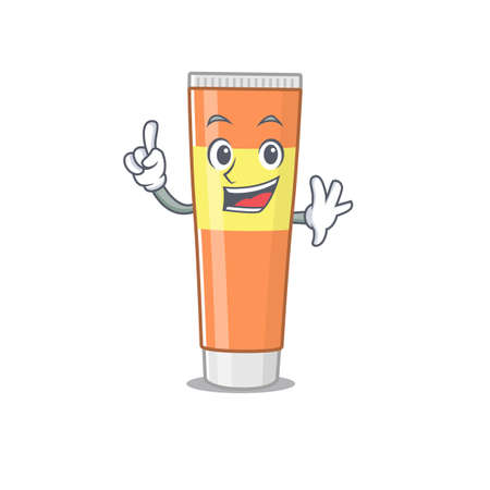 Toothpaste caricature design style with one finger pose. Vector illustration