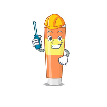 caricature design style of toothpaste worked as an automotive mechanic. Vector illustration Hình minh hoạ