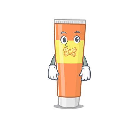 Toothpaste cartoon character style having strange silent face. Vector illustration