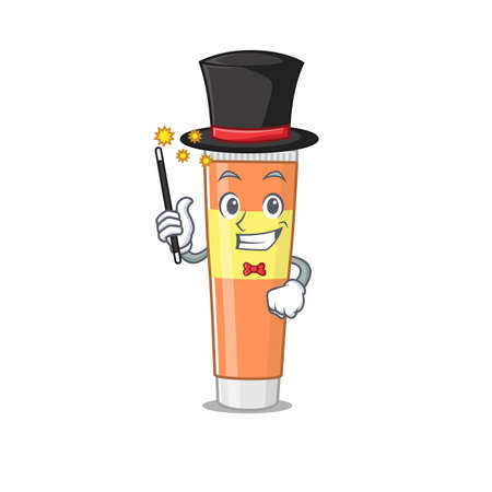 A smart Magician of toothpaste caricature design style. Vector illustration