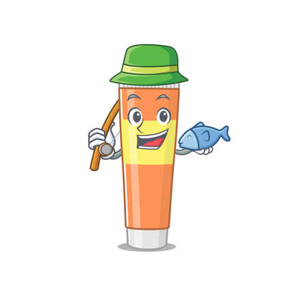 Cartoon design style of toothpaste ready goes to fishing. Vector illustration