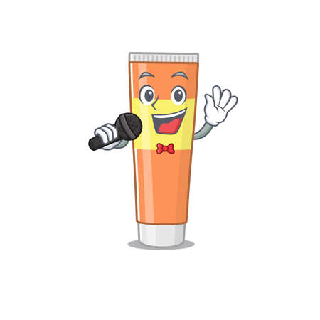 caricature character of toothpaste happy singing with a microphone. Vector illustration
