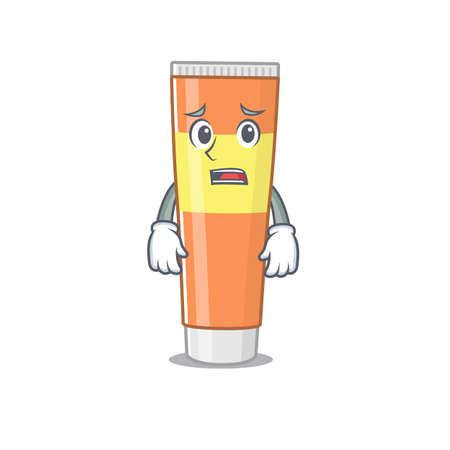 Cartoon image design toothpaste showing worried face. Vector illustration