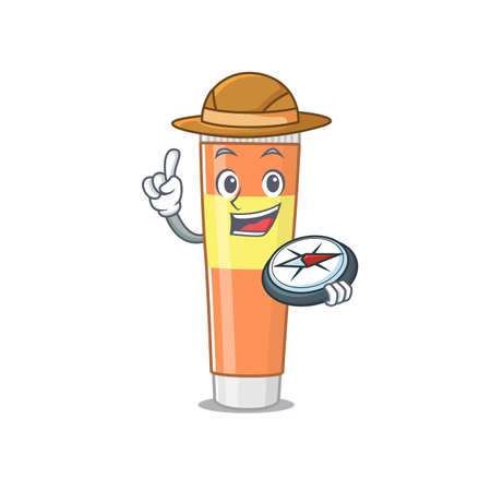 Toothpaste mascot design style of explorer using a compass during the journey. Vector illustration