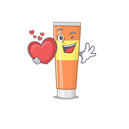 A lovable toothpaste caricature design style holding a big heart. Vector illustration Hình minh hoạ