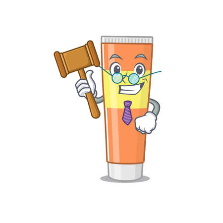 A judicious judge of toothpaste caricature concept wearing glasses. Vector illustration Hình minh hoạ