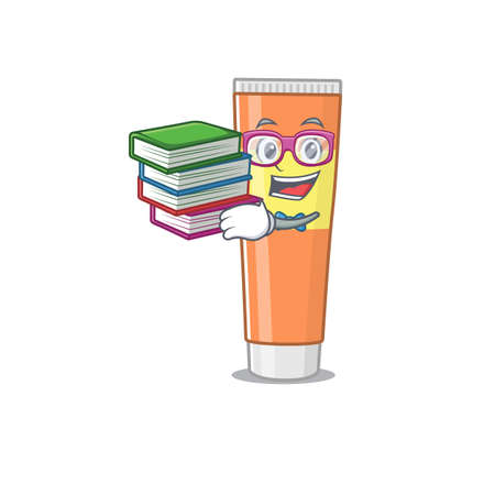 Toothpaste student mascot design read many books when study at home. Vector illustration