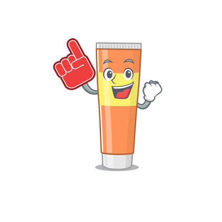 Toothpaste in cartoon picture design with Foam finger. Vector illustration