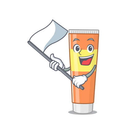 A brave toothpaste mascot character design holding a white flag. Vector illustration