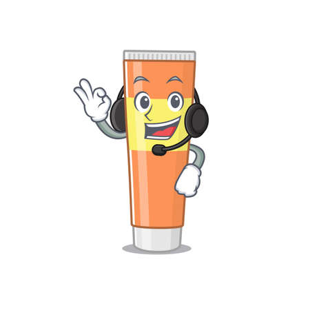 Toothpaste caricature cartoon character concept wearing headphone. Vector illustration Hình minh hoạ