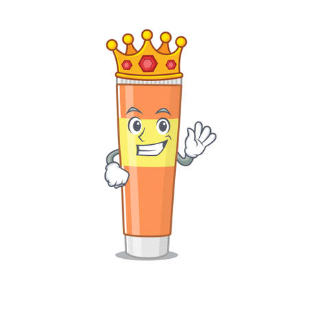 A humble King of toothpaste caricature design style with gold crown. Vector illustration