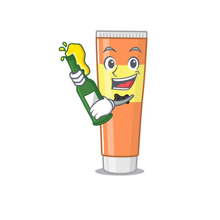 A caricature design style of toothpaste cheers with a bottle of wine. Vector illustration