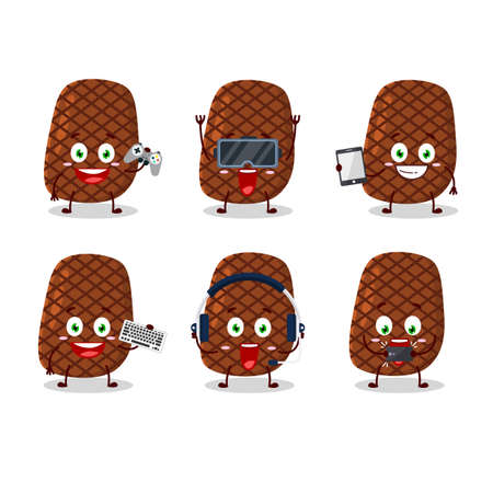 Steak cartoon character are playing games with various cute emoticons