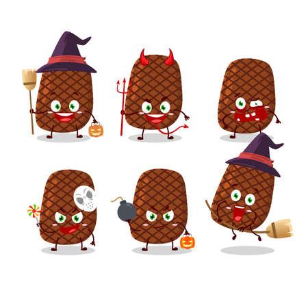 Halloween expression emoticons with cartoon character of steak Illusztráció