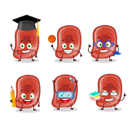 School student of ham cartoon character with various expressions Illustration
