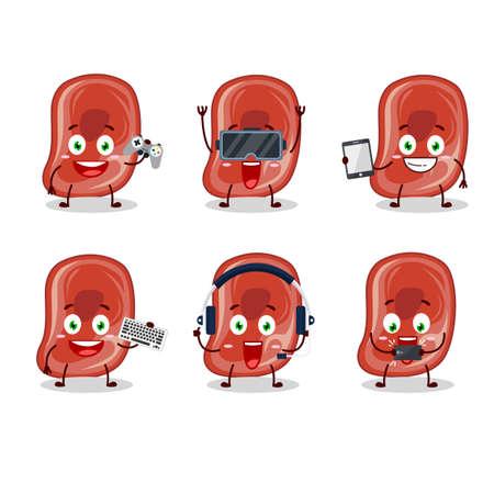 Ham cartoon character are playing games with various cute emoticons Illusztráció