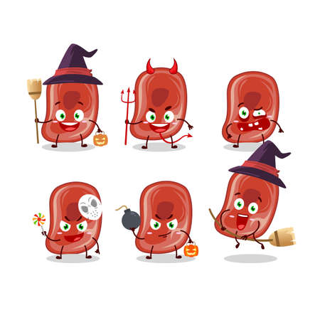 Halloween expression emoticons with cartoon character of ham